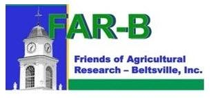 Clock tower on left with blue sky, FAR-B logo in green, Friends of Agricultural Research written in blue