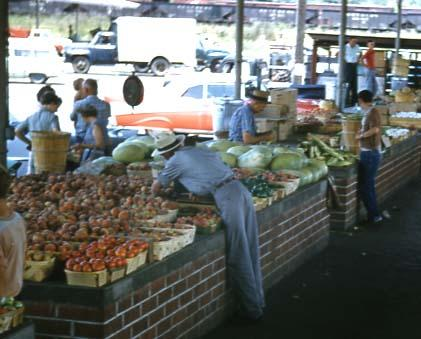 Tables full of produce for sale at farm market